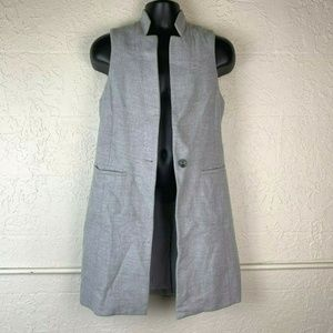 WHBM Open Front Top 6 Gray Duster Cardigan Career